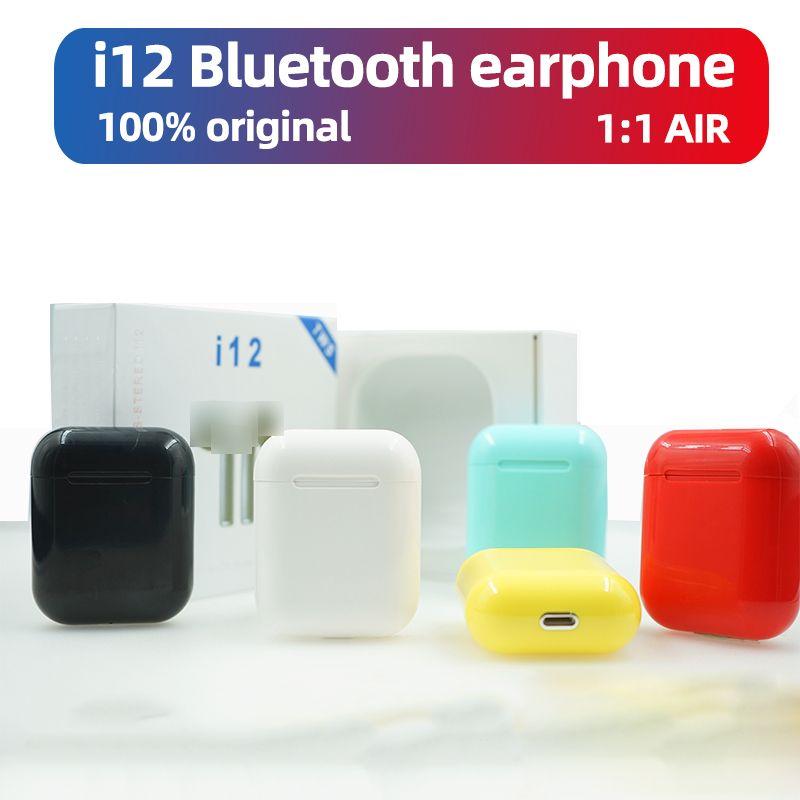 i12 TWS bluetooth earphone wireless earbuds 5.0 stereo sport wireless headset headphones mini earphone for all phone 1:1