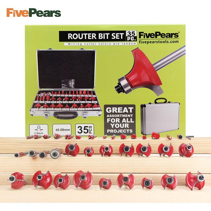 FivePears 35 stücke 6mm Schaft Router Bits Set Professionelle Holzbearbeitung Wolfram Hartmetall Fräser Mit Metall Lagerung Box