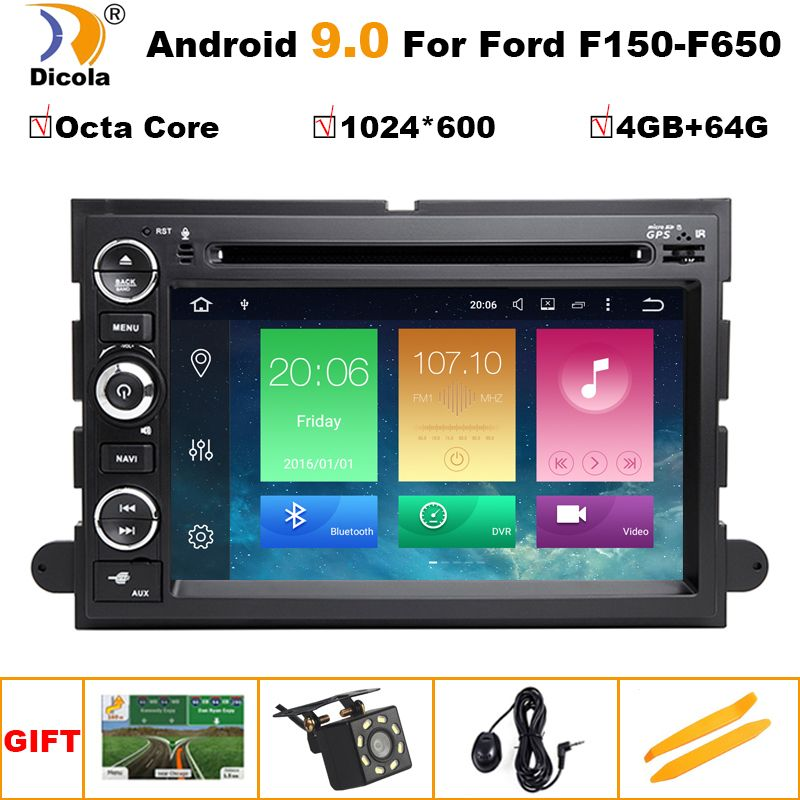 HD 1024*600 Android 9 Auto DVD GPS-Player für Ford F150 EXPEDITION, RAND, FUSION, EXPLORER WIFI 4G Bluetooth Radio Stereo 4G RAM SD
