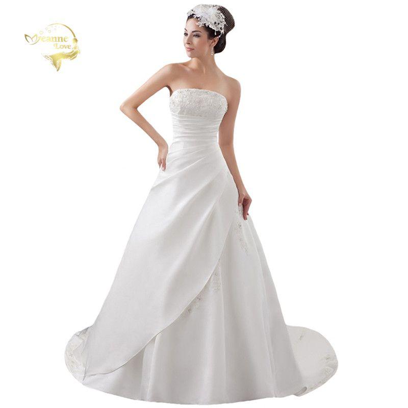 2019 blanc/ivoire luxe Vestido De Noiva Robe De Mariage mariée une ligne Satin Applique avec Train robes De mariée YN 9504