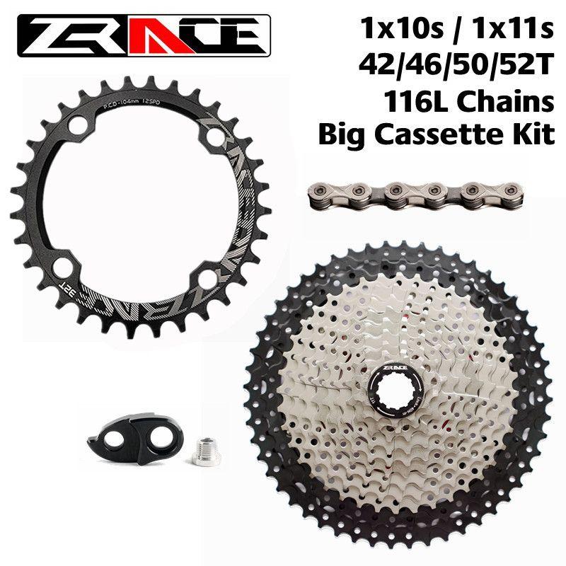 ZRACE 104BCD plateau 32 T/34 T/36 T + 10 S/11 S roue libre de vélo 50 T/52 T + chaînes YBN, Kits de grandes Cassettes à 11 vitesses pour Sram