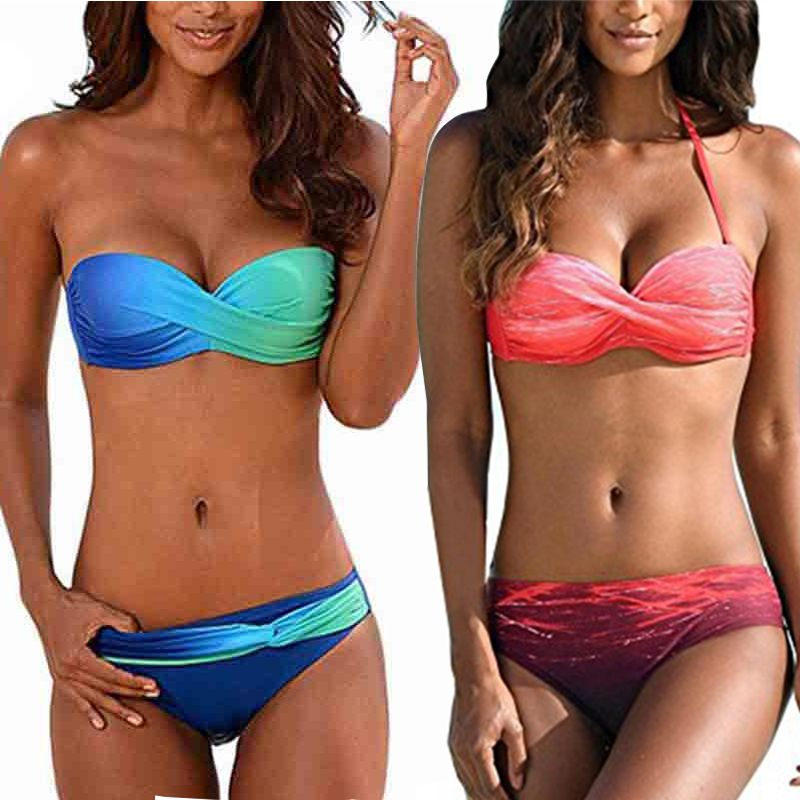 Tengweng Push Up Bikini 2019 licou imprimé grande taille maillots de bain femmes maillot de bain brésilien Bikini deux pièces femme maillot de bain S-XXL