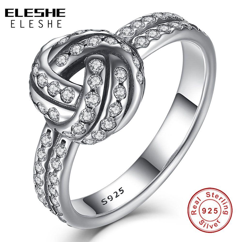 ELESHE authentique réel 925 argent Sterling CZ cristal amour noeud noeud tisser bague pour les femmes fiançailles argent anneaux bijoux