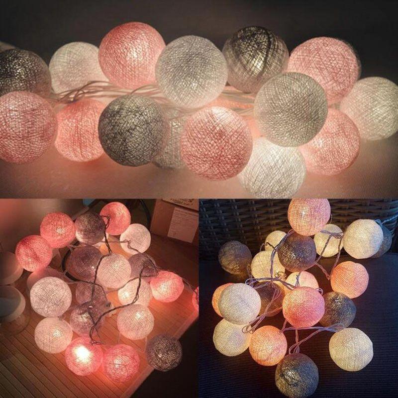 QYJSD 3M LED coton guirlande boule guirlande lumineuse en plein air vacances de mariage noël nouvel an fête bébé lit fée lumières décoration