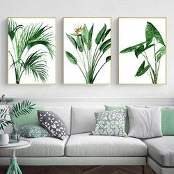 Modern Scandinavian Alocasia Leaves Green Plants Canvas Paintings Nordic Wall Art Poster Prints Pictures Living Room Home Decor