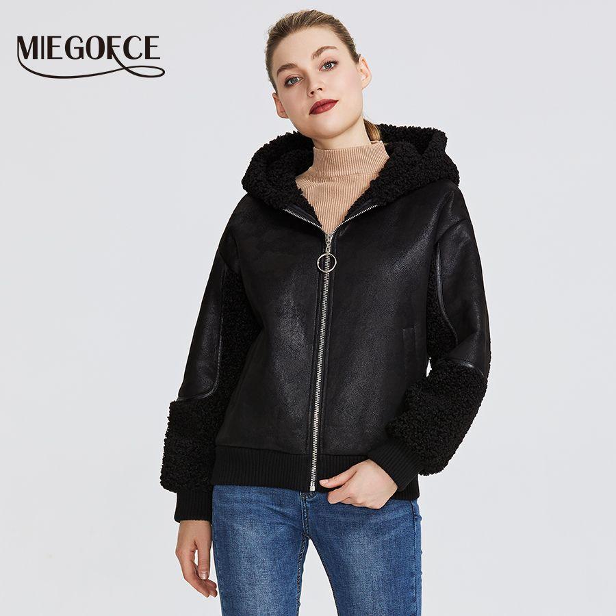 MIEGOFCE 2019 Neue Winter frauen Sammlung Faux Pelz Jacke Frauen Schaffell Mantel Stil Ungewöhnliche Farben Knie-Länge Winddicht haube