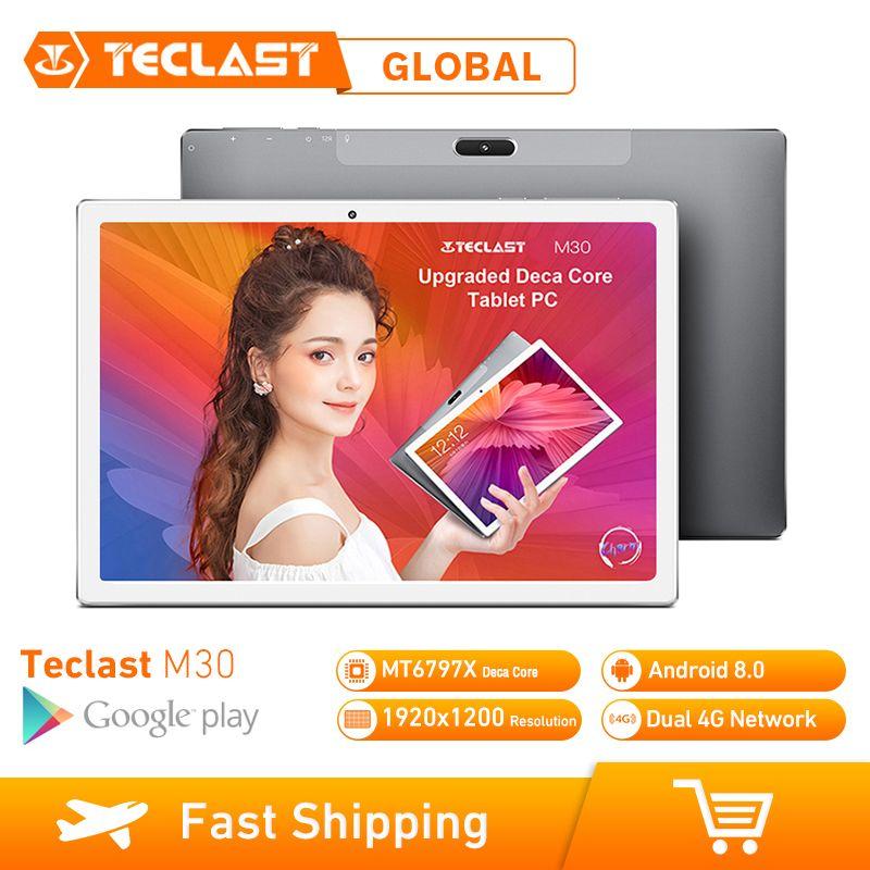 Teclast M30 10,1 zoll 4G Phablet Tabletten Android 8.0 3GB RAM 64GB ROM 1920x1200 Tablet PC MT6797 X27 Deca Core 7500mAh GPS
