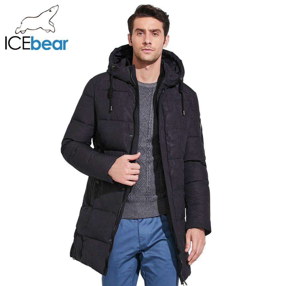 ICEbear 2017 Herren Winter Parkas Mid-Lange Glatte Metall Zipper Stehkragen Einfache Handsome Winter Jacke Männer 17MD933D