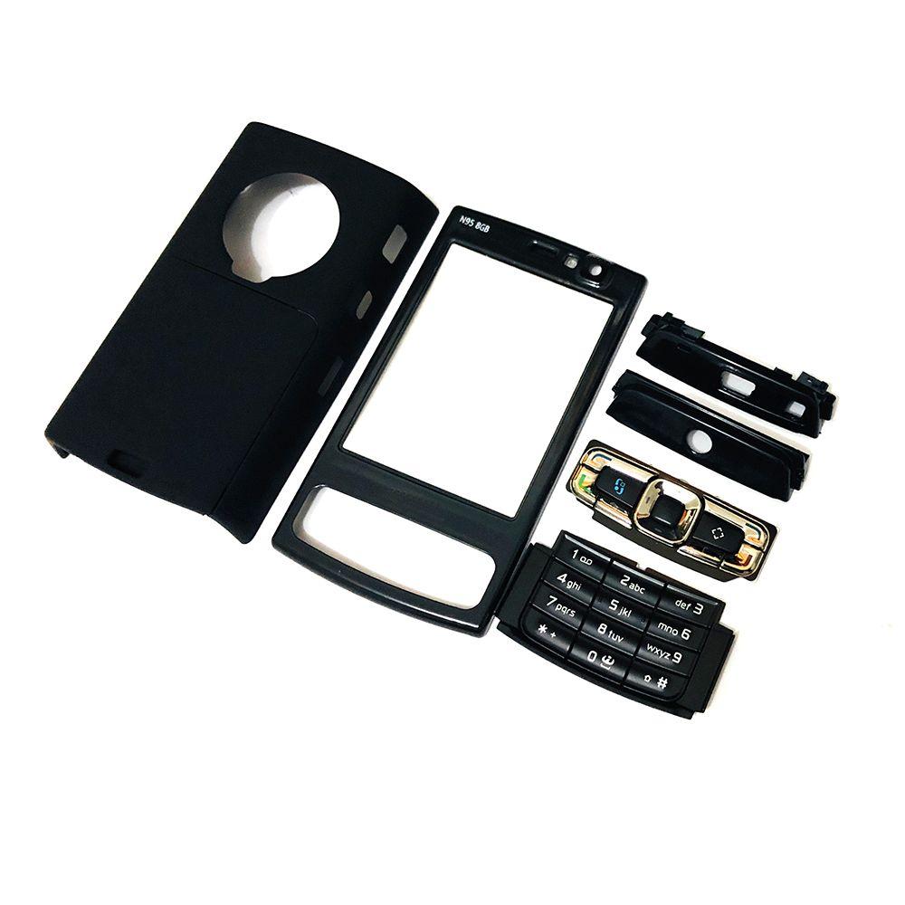 Pour Nokia N95 8G boîtier de couverture de cadre de façade avant + couverture arrière/couvercle de porte de batterie + clavier