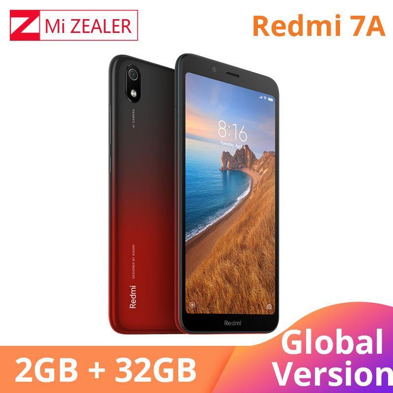 Version mondiale Original Redmi 7A 2GB 32GB téléphone Mobile Snapdargon 439 Octa core 5.45 4000 mAh batterie longue durée en veille