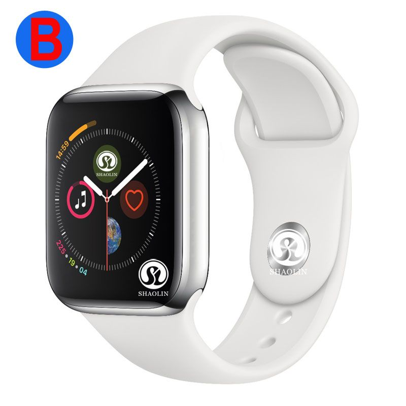 B Smart Uhr Serie 4 Männer Frauen Bluetooth SmartWatch für Apple iOS iPhone Xiaomi Android Smart Telefon (Rot Taste)