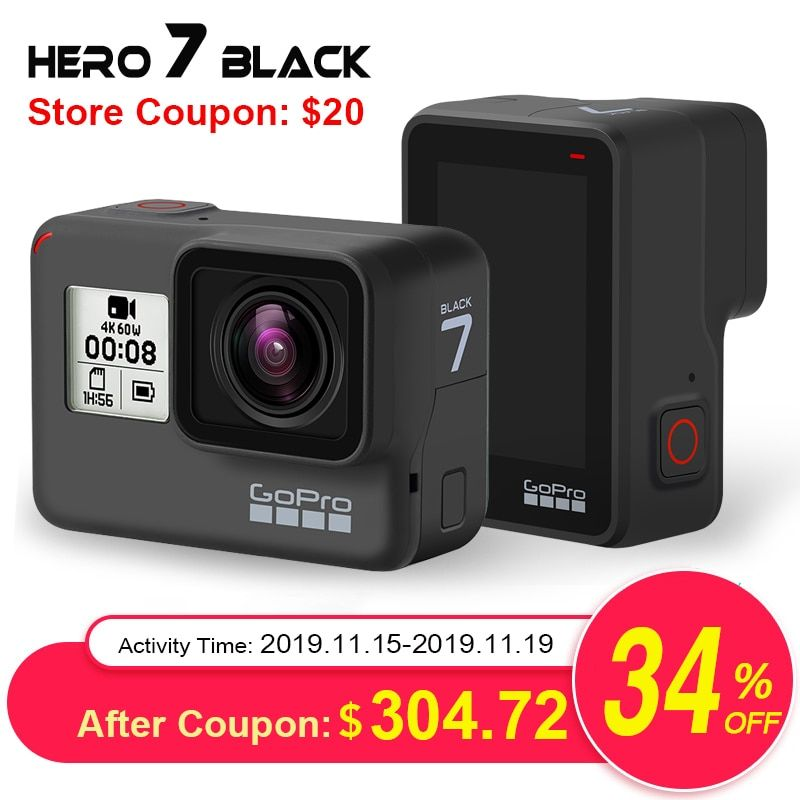GoPro HERO7 Schwarz Wasserdichte Action Kamera mit Touch Screen Sport Cam Go Pro HERO 7 12MP Fotos Live-Streaming Stabilisierung