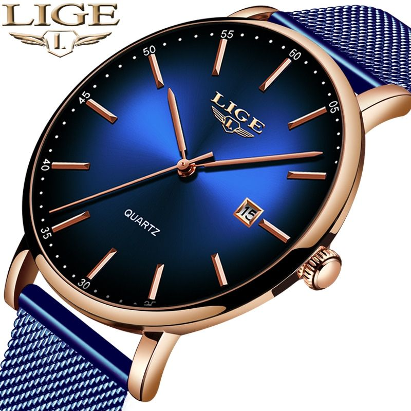 LIGE Fashion Mens Watches Top Brand Luxury Blue Waterproof Watches Ultra Thin Date Simple Casual Quartz Watch Men Sports Clock