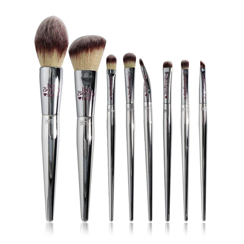 Ensemble de pinceaux de maquillage professionnels 8/9 pièces beauté en direct entièrement argenté Kit de pinceaux cosmétiques pour le visage et les yeux Collection d'outils de maquillage