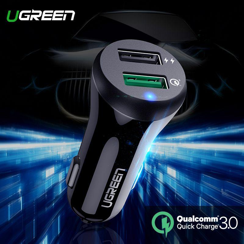 Chargeur de voiture Ugreen chargeur rapide 3.0 USB chargeur rapide pour Xiao mi mi 9 iPhone X Xr 8 Huawei Samsung S9 S8 QC 3.0 chargeur de voiture USB