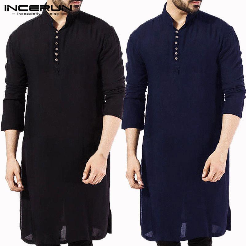 INCERUN décontracté hommes chemise coton à manches longues col montant Vintage solide cousu longs hauts indien Kurta costume chemise pakistanaise 5XL
