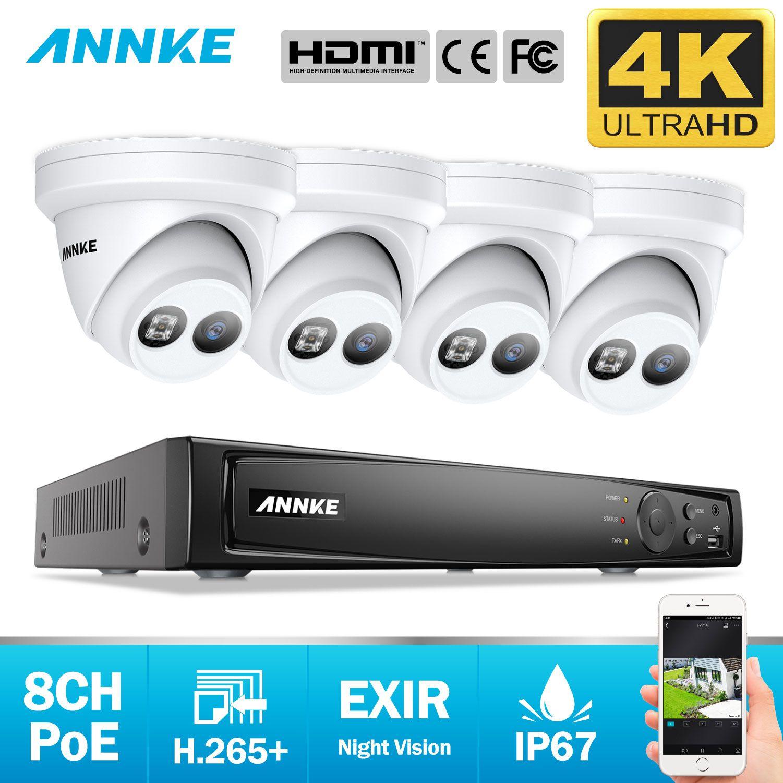 ANNKE 8CH 4K Ultra HD POE Netzwerk Video Security System 8MP H.265 + NVR Mit 4X8 megapixel 30m EXIR Nachtsicht Wetterfeste IP Kamera
