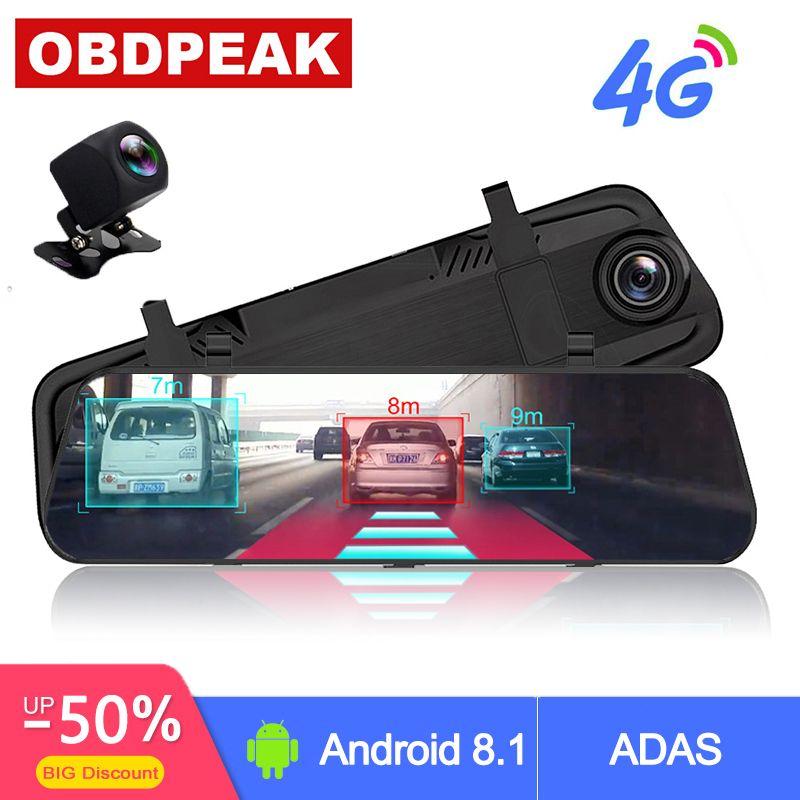 4G ADAS voiture DVR caméra 10 Android 8.1 flux médias rétroviseur FHD 1080P WiFi GPS Dash Cam registraire enregistreur vidéo DVRs