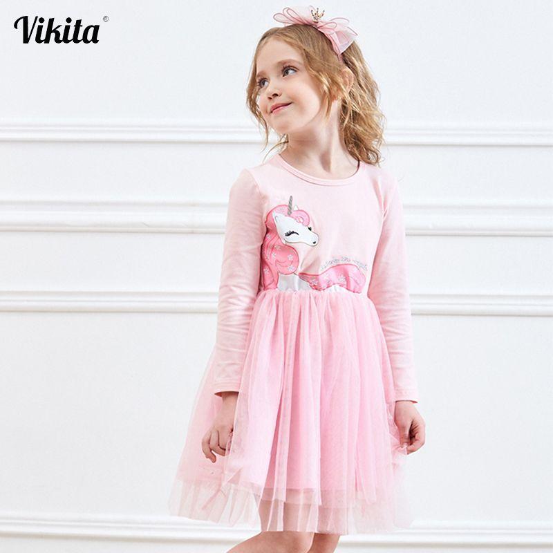 VIKITA filles robe à manches longues enfants robes de fleurs enfants licorne Vestidos 2019 filles robes automne enfants robe pour fille