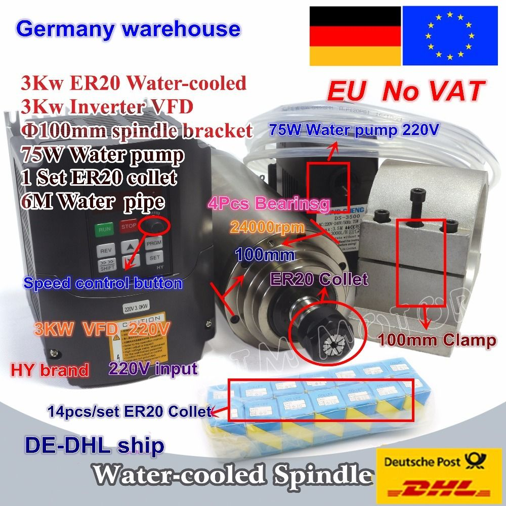 3KW Wasser-Gekühlt Spindel Motor ER20 & 3kw Inverter VFD 220V & 100mm clamp & 75W wasser pumpe & rohre mit 1set ER20 collet CNC Kit