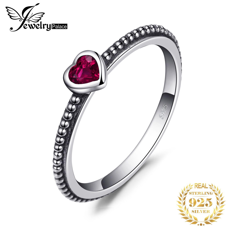 JPalace coeur rouge Murano verre anneau 925 en argent Sterling anneaux pour femmes empilable anneau bande argent 925 bijoux bijoux fins