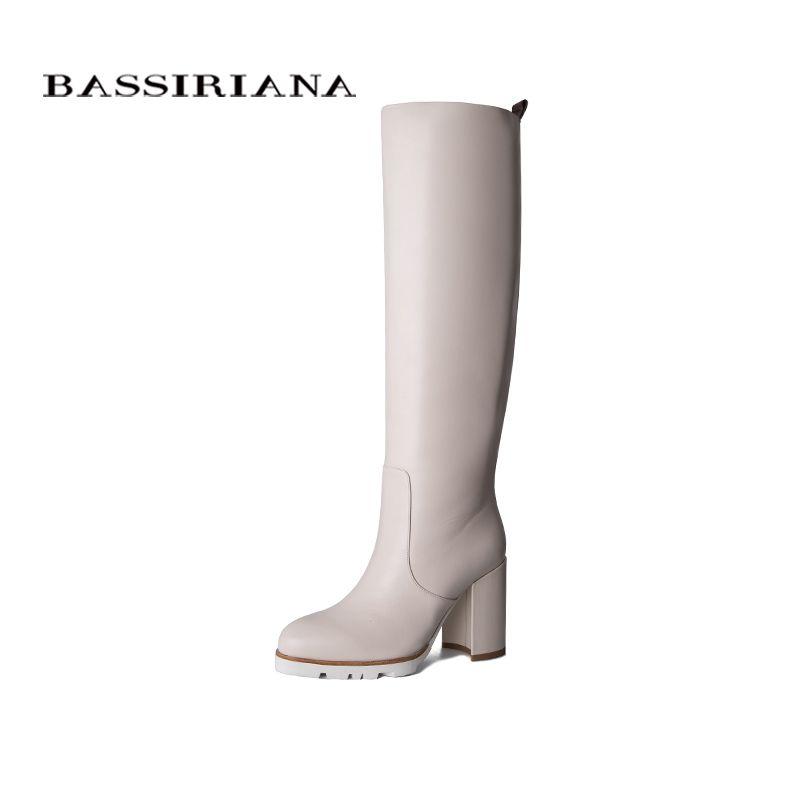 BASSIRIANA 2019 leder stiefel frauen winter stiefel hohe ferse schwarz und weiße stiefel rain plattform