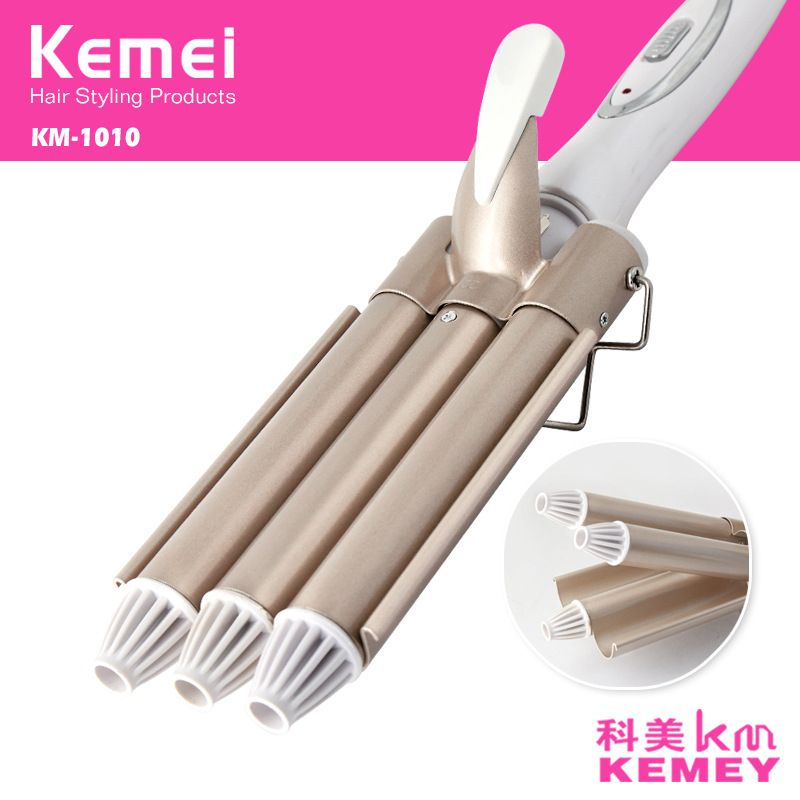 Fer à friser professionnel en céramique Triple baril cheveux Styler cheveux agiter outils de coiffage 110-220V bigoudi électrique Curling 41D