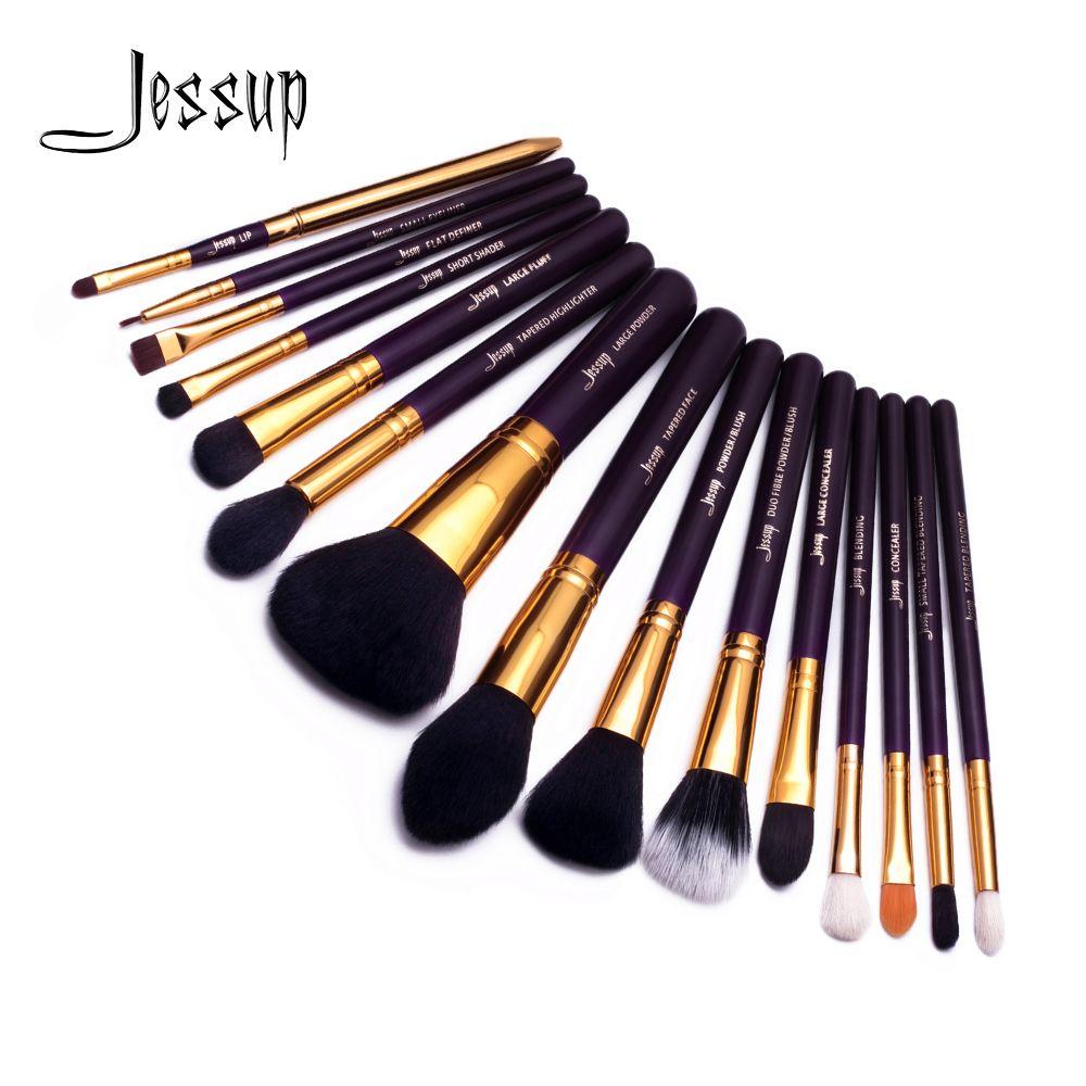 Jessup 15 pièces pinceaux de maquillage Violet/Or Pincel Poudre brosse fondation brosses Fard À Paupières Eyeliner Lèvre