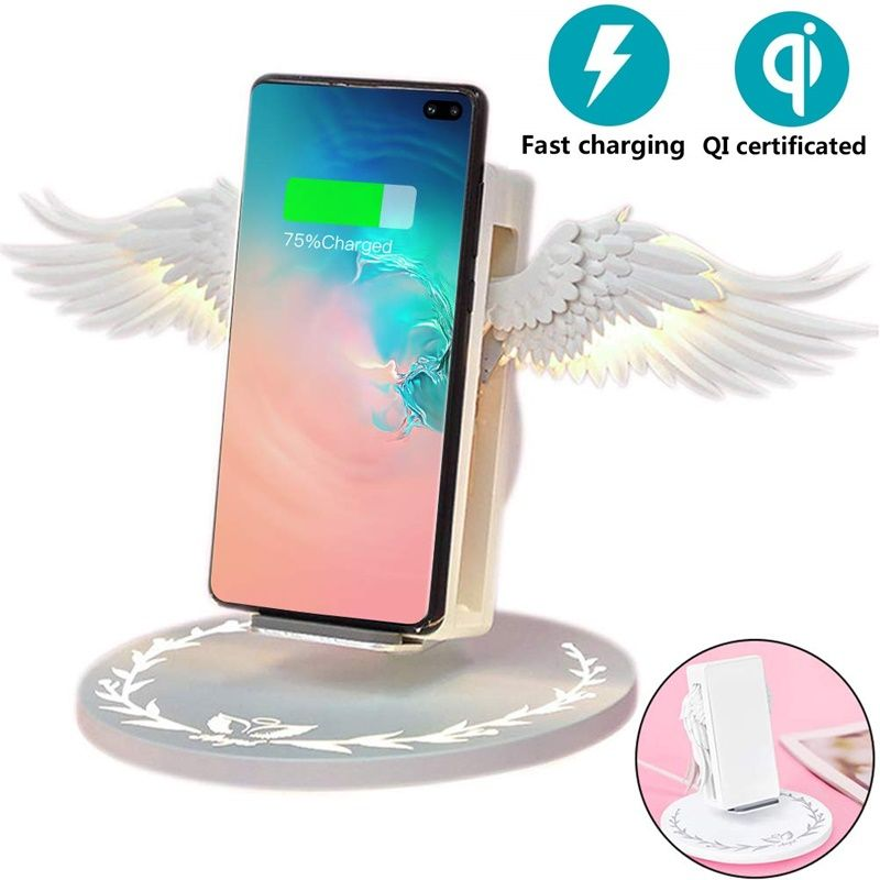 New 10W Angel Qi Wireless Charger For iPhone 8 Plus X XS MAX XR Mobile Phone Fast Wireless Charger For Samsung S10 Huawei