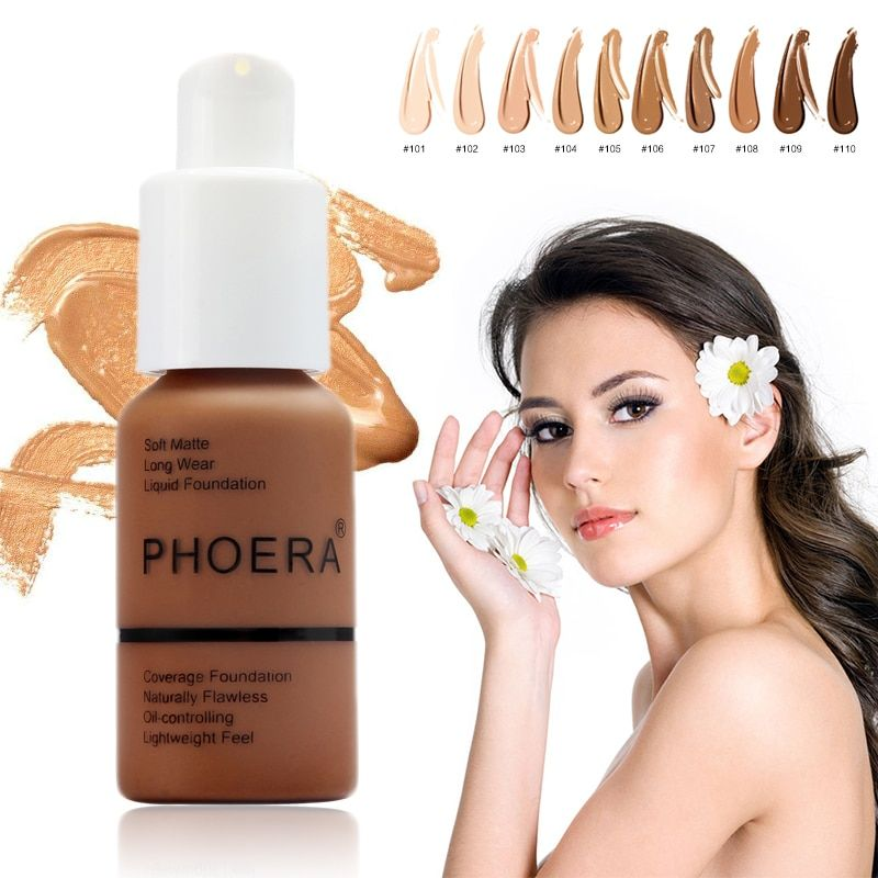 Dropshipping PHOERA Foundation Cream Truffle #110 Tan #108 Nude #102 Buff Beige #104
