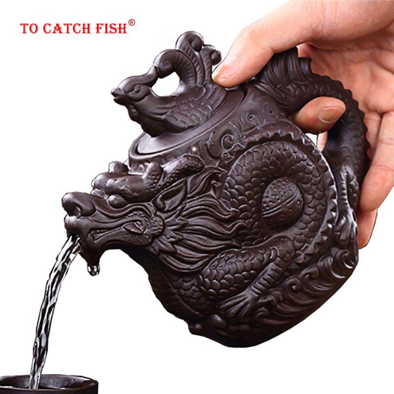 Livraison directe théière en argile pourpre, théière traditionnelle chinoise Dragon et Phoenix thé bouilloire thé Premium, service à thé en argile pourpre