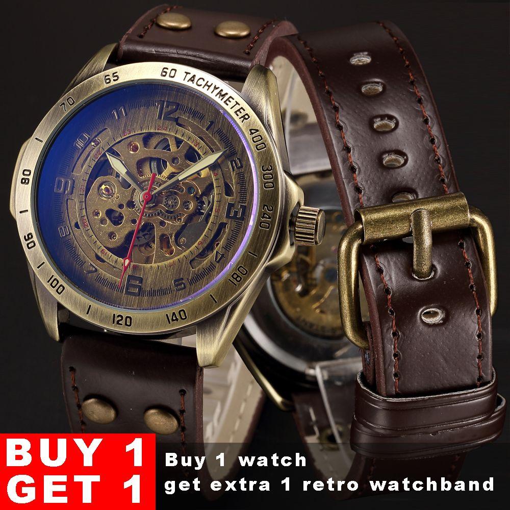 Skeleton Automatische Mechanische Uhr Männer Bronze Steampunk Uhr Mens Transparente Retro Leder Vintage Uhren Uhr montre homme