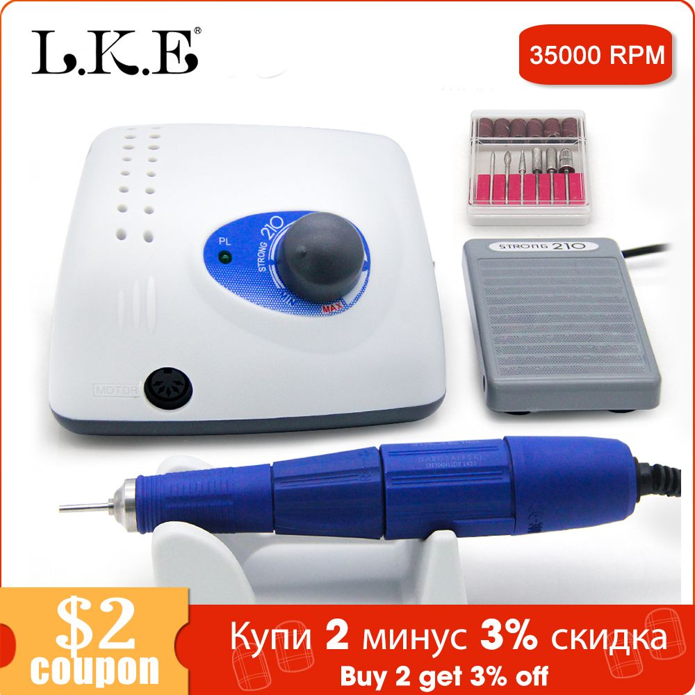 LKE New 65W Strong 210 102L Brushless Nail Drills Manicure Machine Pedicure Electric Strong 35000RPM File Bits Nails Art Equipme