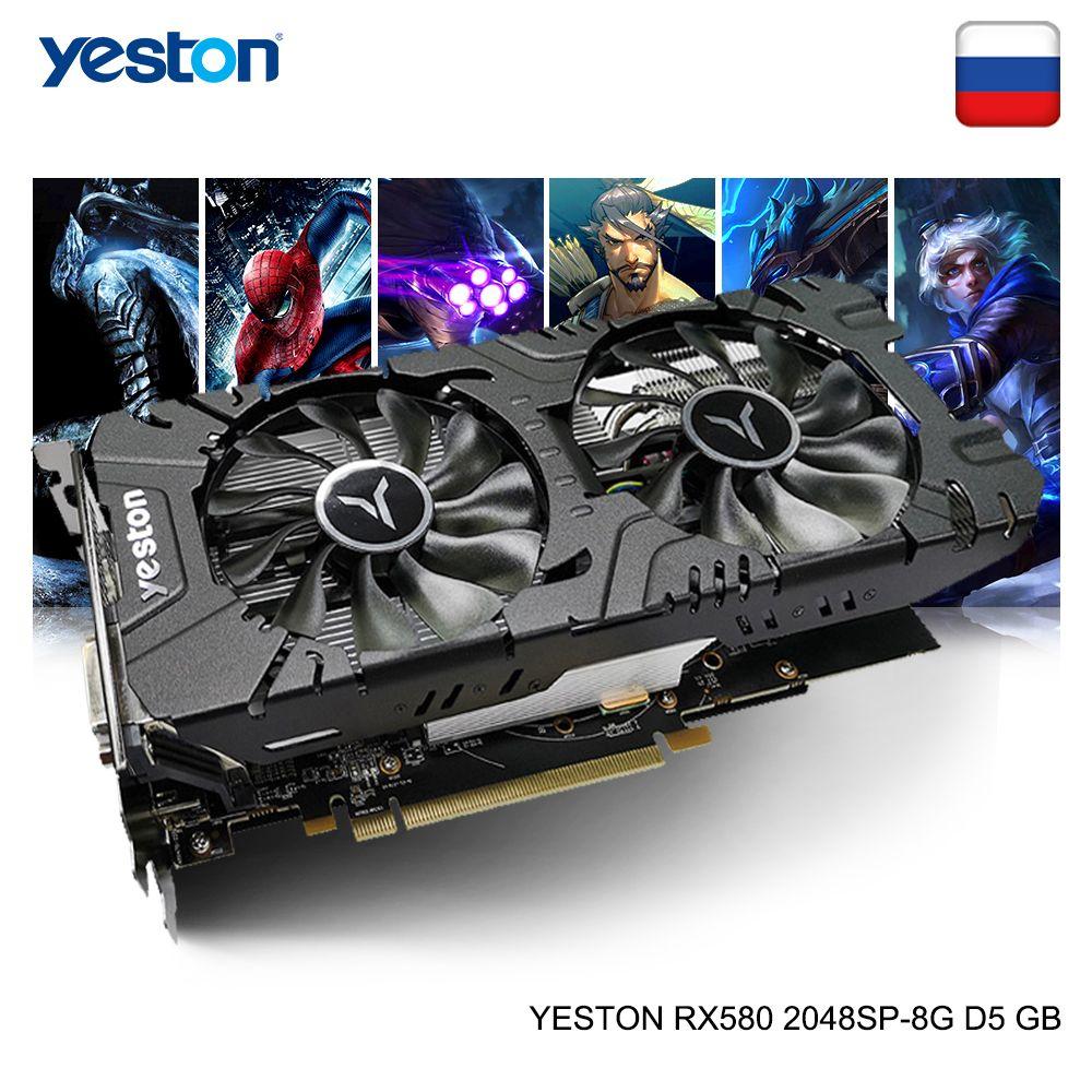 Yeston Radeon RX 580 GPU 8GB GDDR5 256bit Gaming Desktop computer PC Video Graphics Karten unterstützung DVI-D/HDMI /DP PCI-E X16 3,0