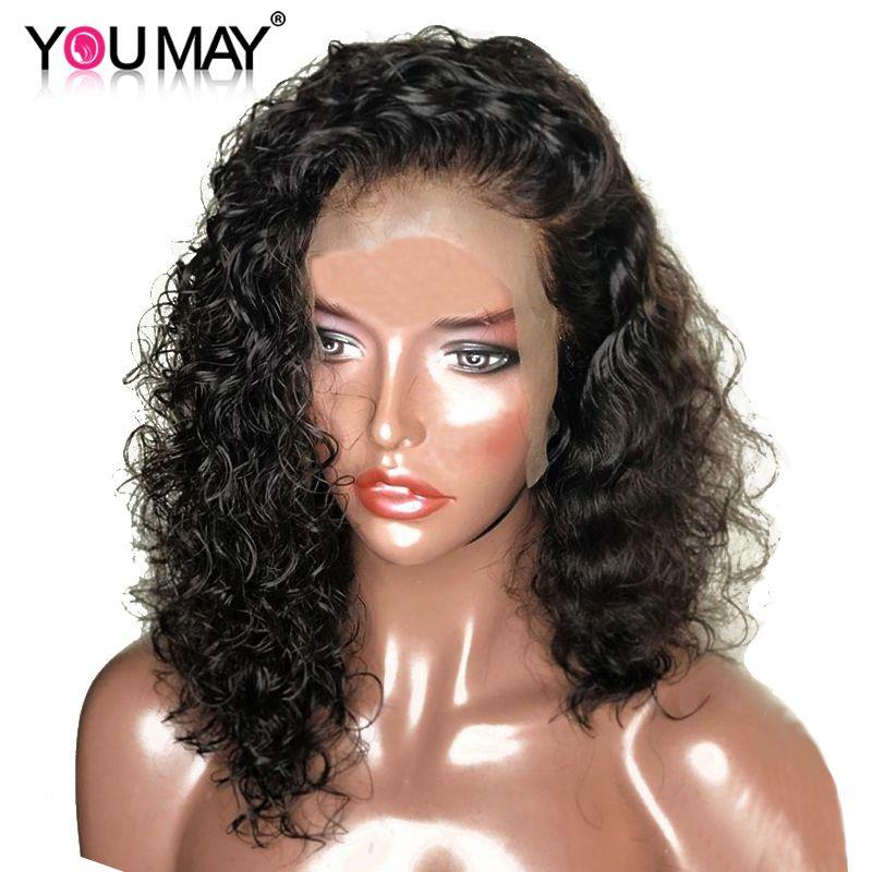 13x6 ondulés court Bob avant de lacet perruques pour les femmes Remy 150% brésilienne dentelle avant cheveux humains perruques pré plumé avec des cheveux de bébé vous pouvez
