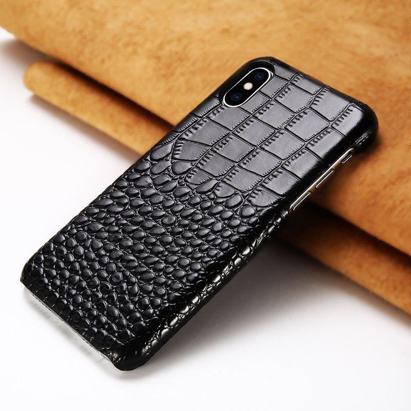 Cuir véritable peau de vache Crocodile texture pour iphone XS max XS XR luxe housse de protection contre les chutes pour iphone 7 6 6S 8 8 plus étui