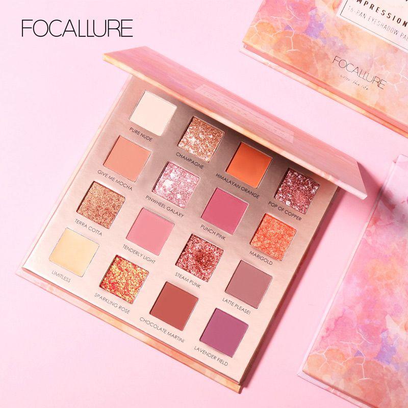 FOCALLURE 16 couleurs lever du soleil paillettes palette de fard à paupières facile à porter mat pigment ombre à paupières poudre fard à paupières palette