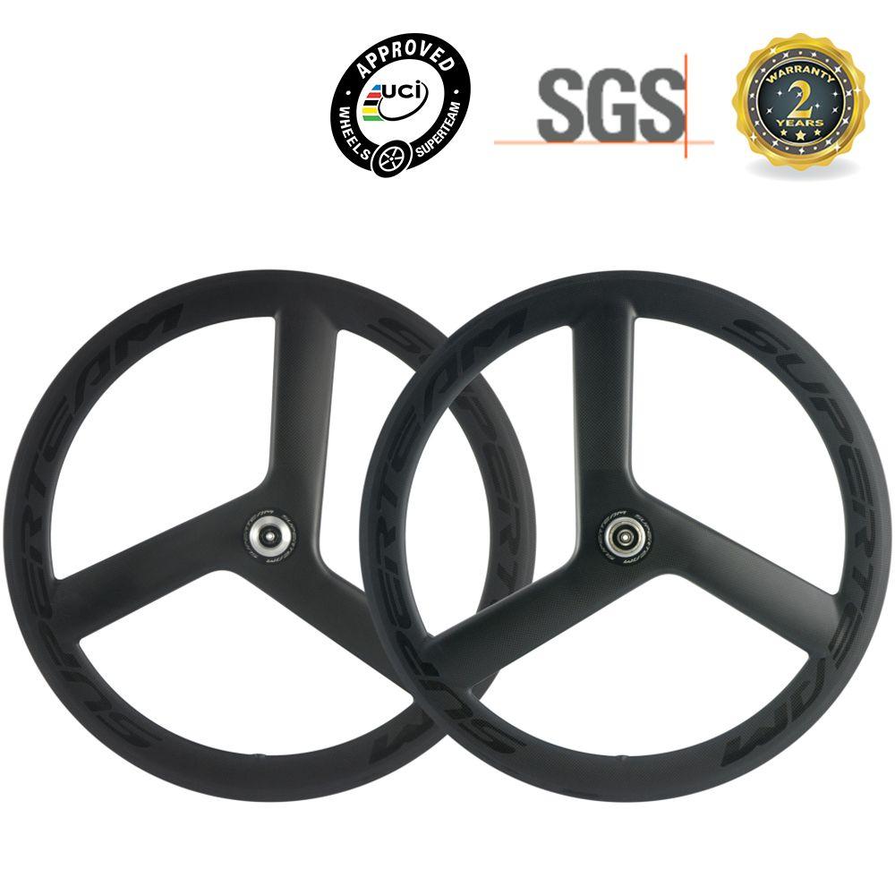 SUPERTEAM 56mm Tri Speichen Räder Klammer Carbon Laufradsatz Rennrad 700C Räder 3 Speichen Rad