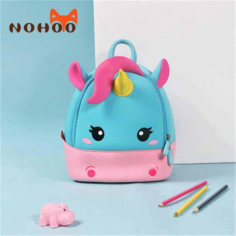 NOHOO school bags 3D Mini Unicorn Cartoon kids Backpack girls waterproof Kindergarten 2-8 Years mochila escolar sac a dos enfant