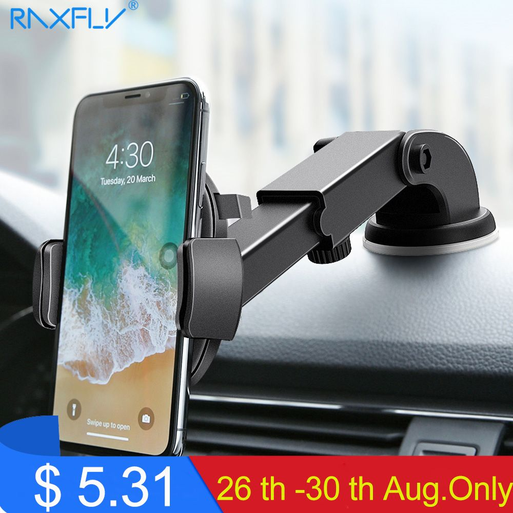 RAXFLY Luxury Car Phone Holder For iPhone 11 pro max Windshield Car Mount Phone Stand Car Holder For Samsung s10 Telefon Tutucu