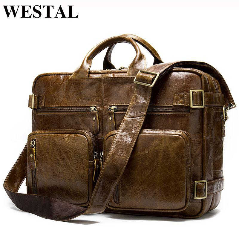 WESTAL Männer Aktentaschen herren Taschen Aus Echtem Leder Büro Taschen für Männer Laptop Taschen Aktentasche Männlichen Totes Dokument/Computer tasche 341