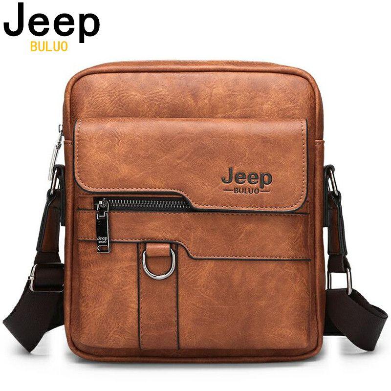 JEEP BULUO marque de luxe hommes sacs de messager bandoulière affaires sac à main décontracté mâle Spliter sac à bandoulière en cuir grande capacité