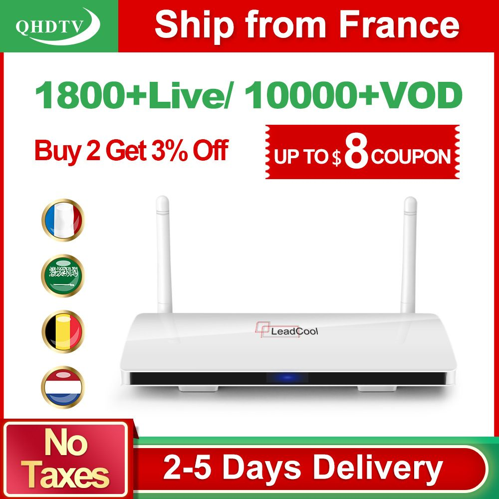 Arabe IPTV France IP TV 1 an Leadcool Android 8.1 Box QHDTV Code français IPTV France arabe belgique pays-bas Android 8.1