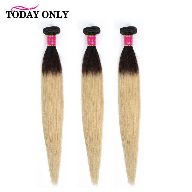 Aujourd'hui, seulement 3/4 paquets de cheveux raides brésiliens blonds Ombre paquets de cheveux humains 1b 27 paquets de cheveux brésiliens Remy