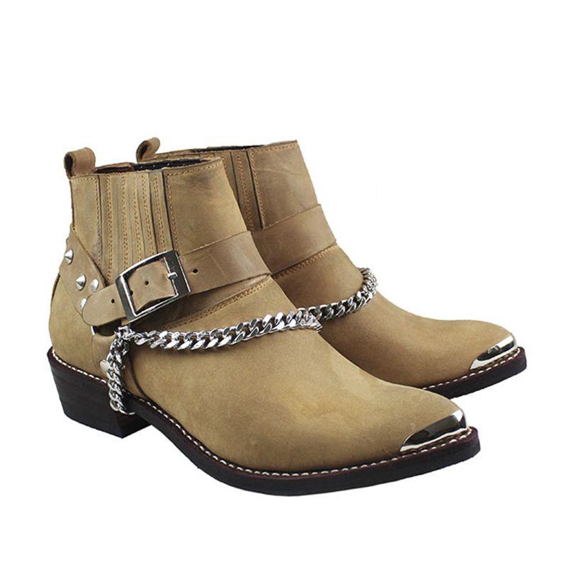 100% kuh Echtes Leder Stiefel Knöchel Spitzen Metall Toe Motorrad Stiefel Mann Punk Cowboy Stiefel Militär mit Ketten, größen 38-46