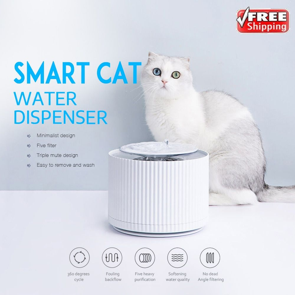 Intelligente Katze Pet Wasser Spender Wasserfilter 5 Schicht Filter 360 Grad Öffnen Trinken Tablett Tier Trinken Brunnen