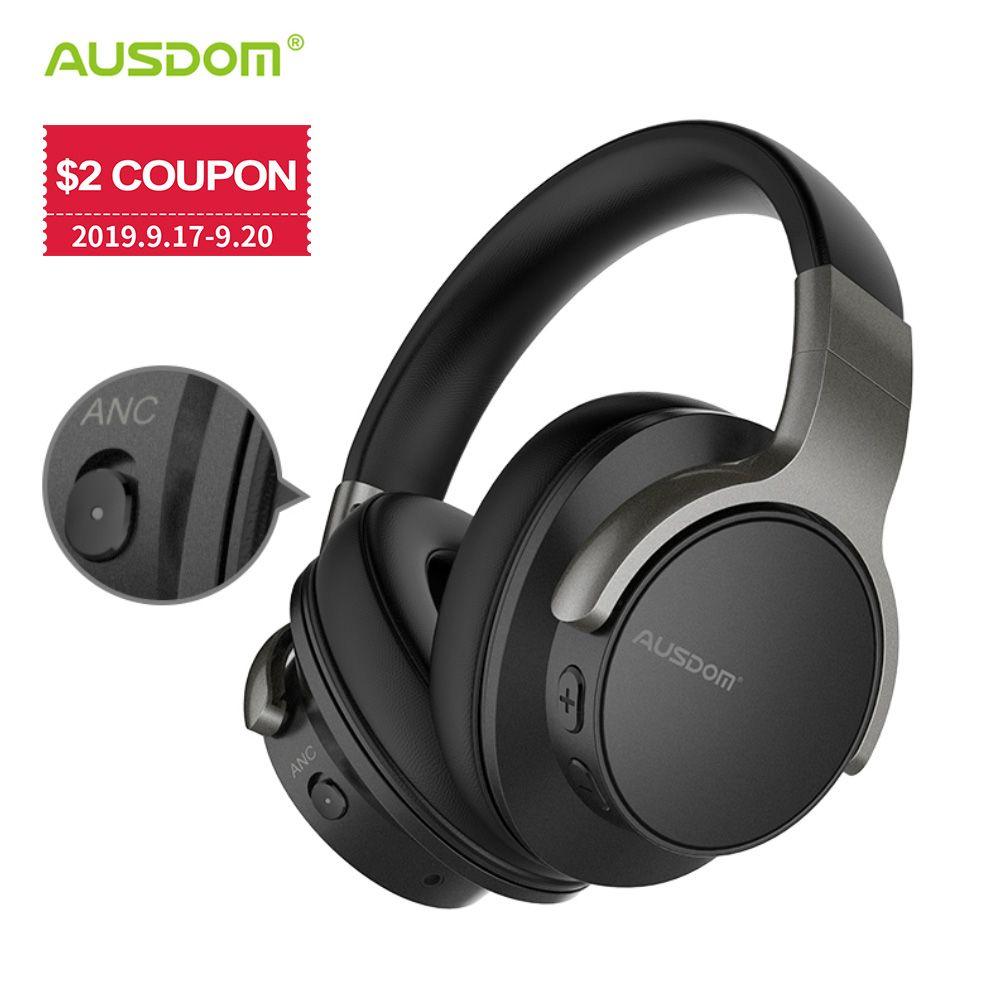 Ausdom ANC8 casque sans fil antibruit actif casque Bluetooth avec Super HiFi basse profonde 20H Playtime pour le travail de voyage