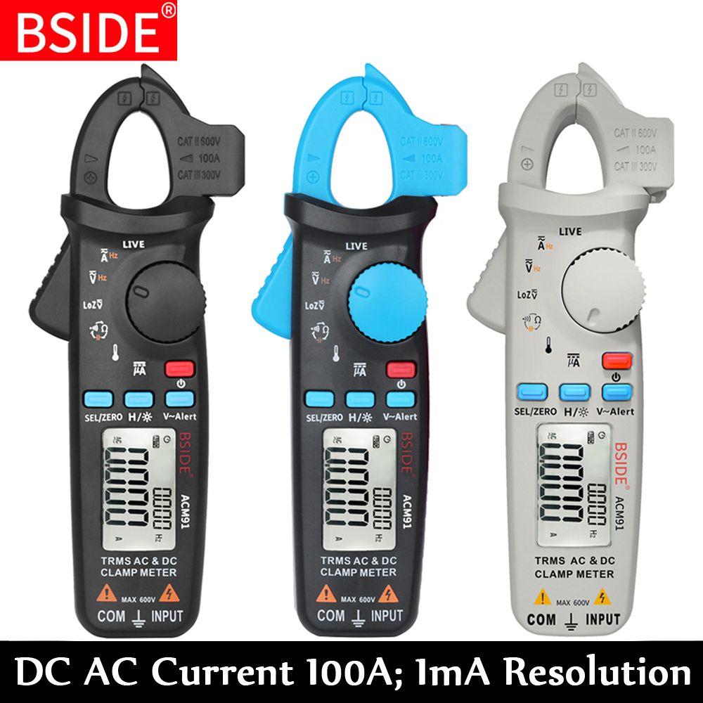 True RMS Mini pince numérique compteur BSIDE ACM91 DC courant alternatif 100A 1mA précision voiture réparation ampèremètre voltmètre NCV testeur multimètre