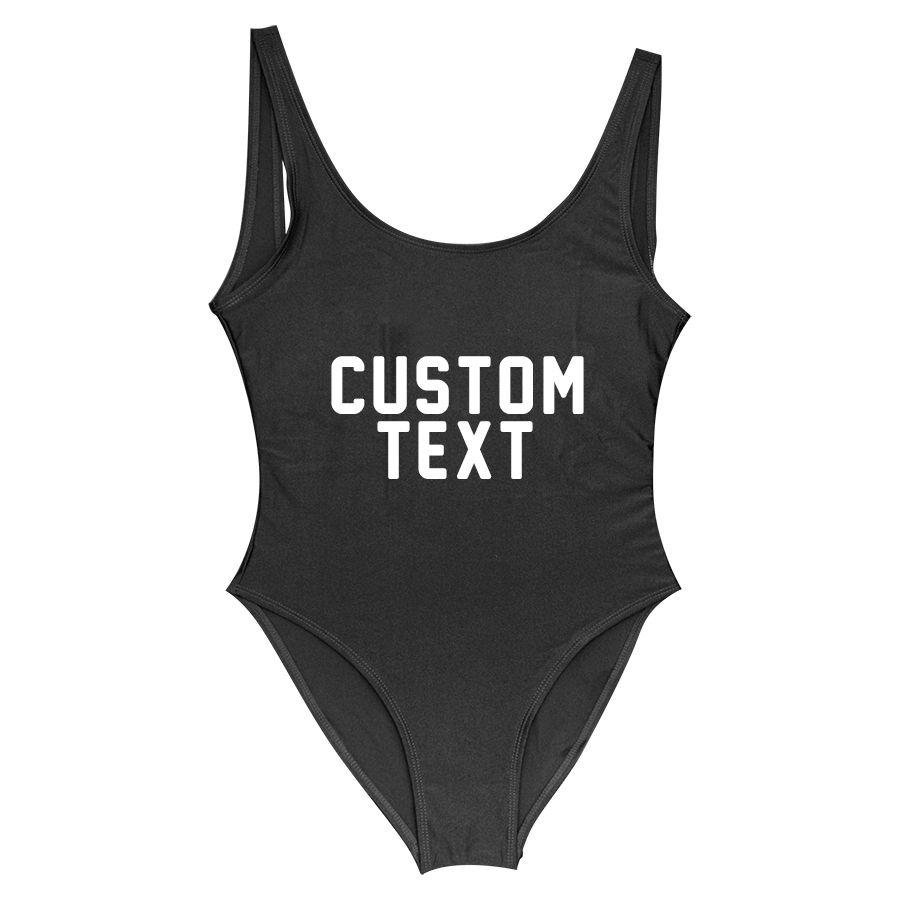 Custom Lining Letter Personalized Slogan Swimwear One Piece Swimsuit bathing suit Swimwear bachelor Party Fun