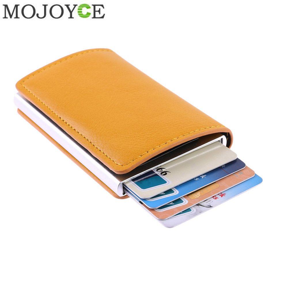 Mâle En Métal support de carte RFID En Alliage D'aluminium Crédit porte-carte portefeuille en cuir synthétique polyuréthane Antivol Automatique RFID Portefeuille livraison directe